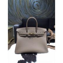 Hermes Birkin 35cm Togo Calfskin Leather Bag Gold Hardware Handstitched, Etoupe CK18 RS15833