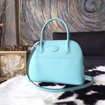 Hermes Bolide 27cm Epsom Calfskin Leather Bag Palladium Hardware Handstitched, Blue Atoll 3P RS17820