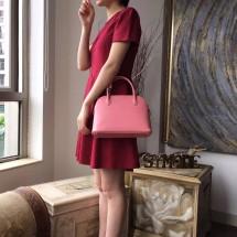 Hermes Bolide 27cm Epsom Calfskin Leather Bag Palladium Hardware Handstitched, Rose Confetti 1Q RS09932