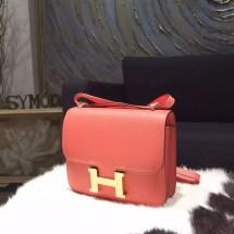 Hermes Constance 18cm Epsom Calfskin Original Leather Handstitched Gold Hardware, Flamingo I5 RS04452