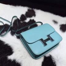 Hermes Constance 19cm Epsom Calfskin Original Leather Handstitched, Blue Atoll 3P RS03692