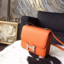 Hermes Constance 19cm Epsom Calfskin Original Leather Handstitched Palladium Hardware, Orange CK93 RS03422