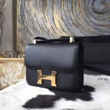 Hermes Constance 23cm Epsom Calfskin Original Leather Handstitched Gold Hardware, Black RS10853