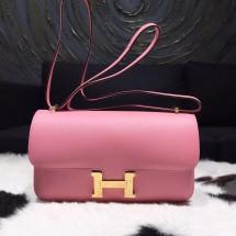 Hermes Constance Elan 23cm Epsom Calfskin Original Leather Hand Stitched Gold Hardware, Rose Confetti 1Q RS05772