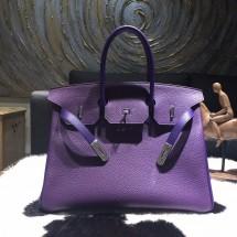 Hermes Horseshoe Birkin 35cm Taurillon Clemence Calfskin Leather Bag Gold Hardware Handstitched, Ultraviolet 5L/Iris 9K RS04070