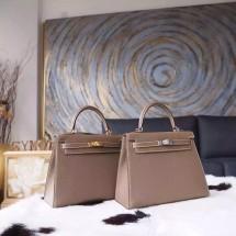 Hermes Kelly 25cm Epsom Calfskin Bag Handstitched Palladium Hardware, Etoupe CK18 RS03907