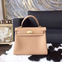 Hermes Kelly 25cm Togo Calfskin Bag Handstitched Gold Hardware, Tabac Camel CK24 RS02921