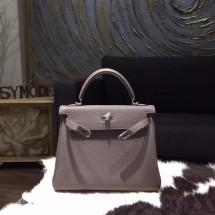 Hermes Kelly 25cm Togo Calfskin Bag Handstitched Palladium Hardware, Etain 8F RS03968