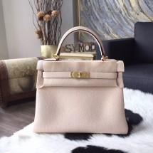 Hermes Kelly 28cm/32cm Togo Calfskin Original Leather Bag Handstitched Gold Hardware, Craie CC10 RS05826