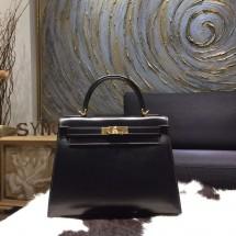 Hermes Kelly 28cm Box Calfskin Sellier Rigide Bag Handstitched Gold Hardware, Noir Black RS13653