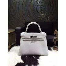 Hermes Kelly 28cm Togo Calfskin Bag Handstitched Palladium Hardware, Blanc White RS19203