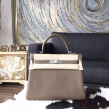 Hermes Kelly 28cm Togo Calfskin Bag Handstitched Palladium Hardware, Etoupe CK18 RS19398