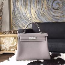 Hermes Kelly 28cm Togo Calfskin Calfskin Bag Handstitched Palladium Hardware, Gris Tourterelle CK81 RS00297