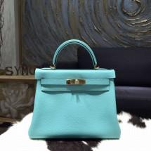 Hermes Kelly 28cm Togo Calfskin Original Leather Bag Handstitched Gold Hardware, Blue Atoll 3P RS11364