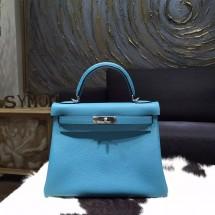 Hermes Kelly 28cm Togo Calfskin Original Leather Bag Handstitched Palladium Hardware, Blue Paradise 7B RS08605