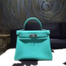 Hermes Kelly 28cm Togo Calfskin Original Leather Bag Handstitched Palladium Hardware, Lagon 7V RS09165