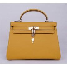 Hermes Kelly 32cm Togo Calfskin Bag Handstitched Gold Hardware, Jaune Poussin 1Z RS03199