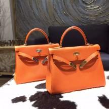 Hermes Kelly 32cm Togo Calfskin Bag Palladium Hardware Handstitched, Orange CC93 RS14794