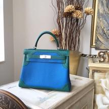 Hermes Kelly Ghillies Limited Edition 28cm Togo Calfskin Leather Bag Handstitched Palladium Hardware, Mykonos 7Q/Malachite Z6 RS04426