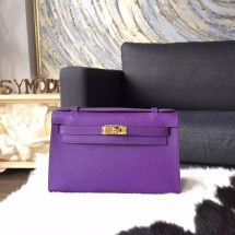 Hermes Mini Kelly Pochette 22cm Epsom Calfskin Leather Gold Hardware, Crocus 9W RS04542