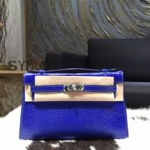 Hermes Mini Kelly Pochette 22cm Lizard Palladium Hardware Handstitched, Blue Electric 7T RS07264