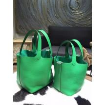 Hermes Picotin Lock Bag 18cm/22cm Taurillon Clemence Palladium Hardware Hand Stitched, Bambou CK1K RS14842
