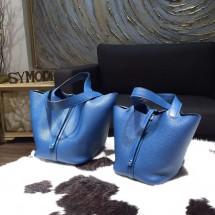 Hermes Picotin Lock Bag 18cm/22cm Taurillon Clemence Palladium Hardware Hand Stitched, Blue de Galice S7 RS08263