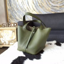 Hermes Picotin Lock Bag 18cm/22cm Taurillon Clemence Palladium Hardware Hand Stitched, Canopee V6 RS15947