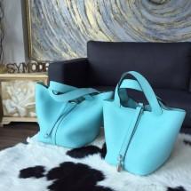 Hermes Picotin Lock Bag 18cm/22cm Taurillon Clemence Palladium Hardware Handstitched, Blue Atoll 3P RS03214