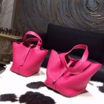 Hermes Picotin Lock Bag 18cm/22cm Taurillon Clemence Palladium Hardware Handstitched, Fuschia Pink 5J RS14342