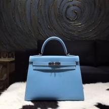 High Quality Imitation Hermes Kelly 28cm Epsom Calfskin Sellier Rigide Bag Handstitched Palladium Hardware, Celeste 7N RS10587