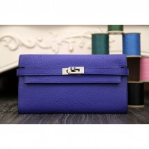 High Quality Replica Hermes Kelly Longue Wallet In Electric Blue Clemence Leather RS05600
