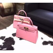 Hot Fake Hermes Kelly 28cm Epsom Calfskin Original Leather Bag Handstitched, Rose Confetti 1Q RS19437