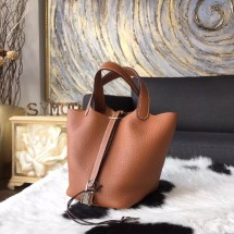 Hot Replica Hermes Picotin Lock Bag 18cm/22cm Taurillon Clemence Palladium Hardware Hand Stitched, Gold CK37 RS12708