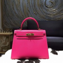 Imitation Hermes Kelly 28cm Epsom Calfskin Original Leather Bag Hand Stitched Gold Hardware, Rose Tyrien E5 RS13678