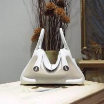 Imitation Hermes Lindy 26/30cm Taurillon Clemence Calfskin Bag Handstitched, Blanc CK01 RS18014