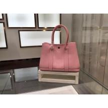 Imitation Luxury Hermes Garden Party TPM Buffalo Leather Palladium Hardware Top Hand Stitching, Pink RS09347