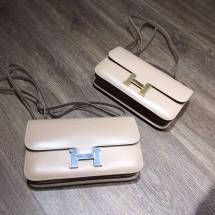 Luxury Hermes Constance Elan 23cm Tedelakt Calfskin Leather Bag Handstitched Palladium/Gold Hardware, Argile 1F RS08233