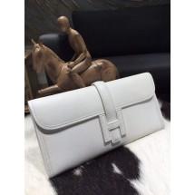 Luxury Hermes Jige Elan Clutch 29cm Epsom Calfskin Handstitched, Blanc CK01 RS08391