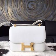 Quality Hermes Constance 23cm Epsom Calfskin Original Leather Handstitched Gold Hardware, White RS08064