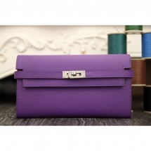 Quality Hermes Kelly Longue Wallet In Purple Epsom Leather RS21733