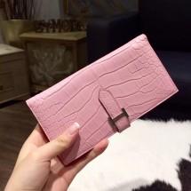 Replica Hermes Bearn Wallet Matte Crocodile Skin Handstitched Palladium Hardware, Pink 5P RS07177