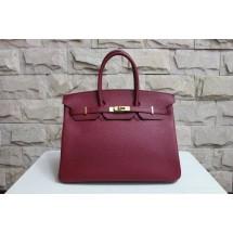 Replica Hermes Birkin 30cm Cowhide Leather Bag Handstitched Silver Hardware, Purple Bag RS19268