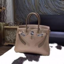 Replica Hermes Birkin 30cm Togo Calfskin Bag Original Leather Handstitched, Etoupe CK18 RS04382
