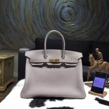 Replica Hermes Birkin 35cm Togo Calfskin Bag Handstitched Gold Hardware, Gris Tourterelle CK81 RS17189