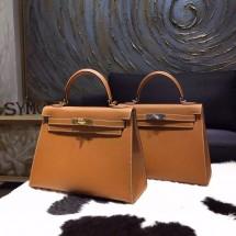 Replica Hermes Kelly 28cm Epsom Calfskin Sellier Rigide Bag Handstitched, Gold CK37 RS00389