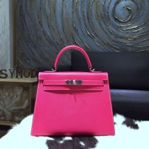 Replica Hermes Kelly 28cm Epsom Calfskin Sellier Rigide Bag Handstitched Palladium Hardware, Rose Tyrien E5 RS13064