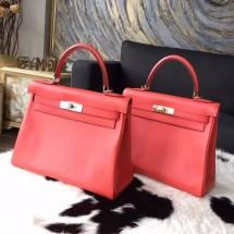 Replica Hermes Kelly 28cm Swift Calfskin Bag Handstitched Gold/Palladium Hardware, Rose Jaipur T5 RS20913