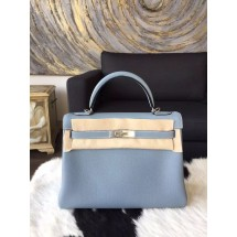 Replica Hermes Kelly 28cm Togo Calfskin Bag Handstitched Palladium Hardware, Bleu Lin CKJ7 RS17721