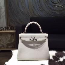 Replica Hermes Kelly 28cm Togo Calfskin Bag Handstitched Palladium Hardware, Pearl Grey CK80 RS18183